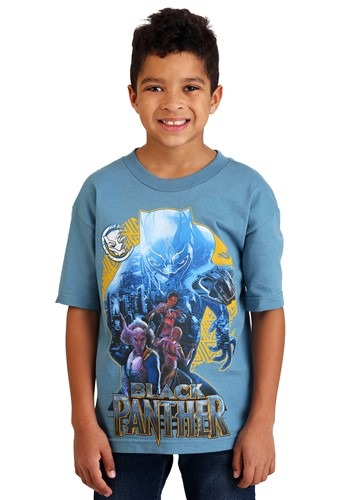 Black Panther Group Shot Youth Light Blue T-Shirt