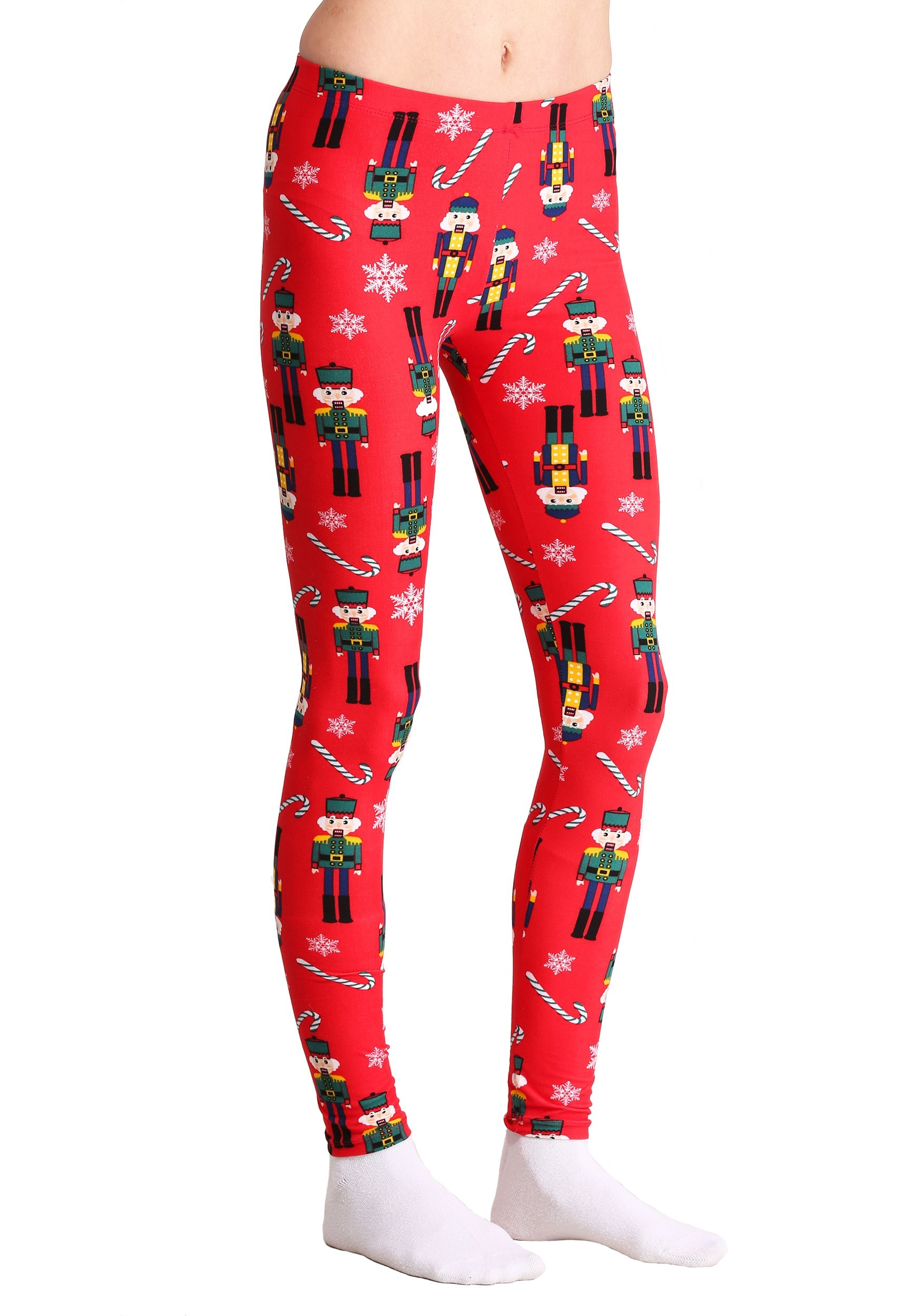 Ugly Christmas Nutcracker and Candy Cane Print Red Leggings