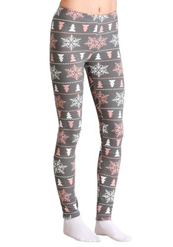Ugly Christmas Pink & White Snowflake Pattern Gray Leggings