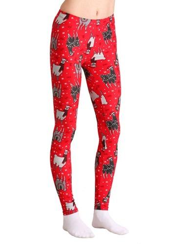 Ugly Christmas Llama Print Red Leggings