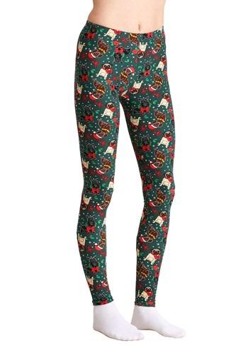 Ugly Christmas Dogs Print Green Leggings