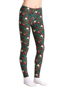 Ugly Christmas Dogs Print Green Leggings