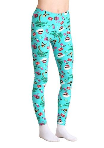 Ugly Christmas Tropical Santa Print Teal Leggings