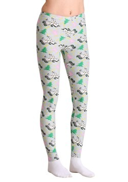 Ugly Christmas Unicorn and Christmas Tree Print Gray Legging