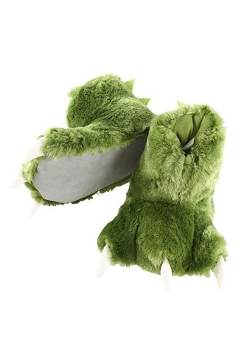 Adult Green Dino Paw Slippers