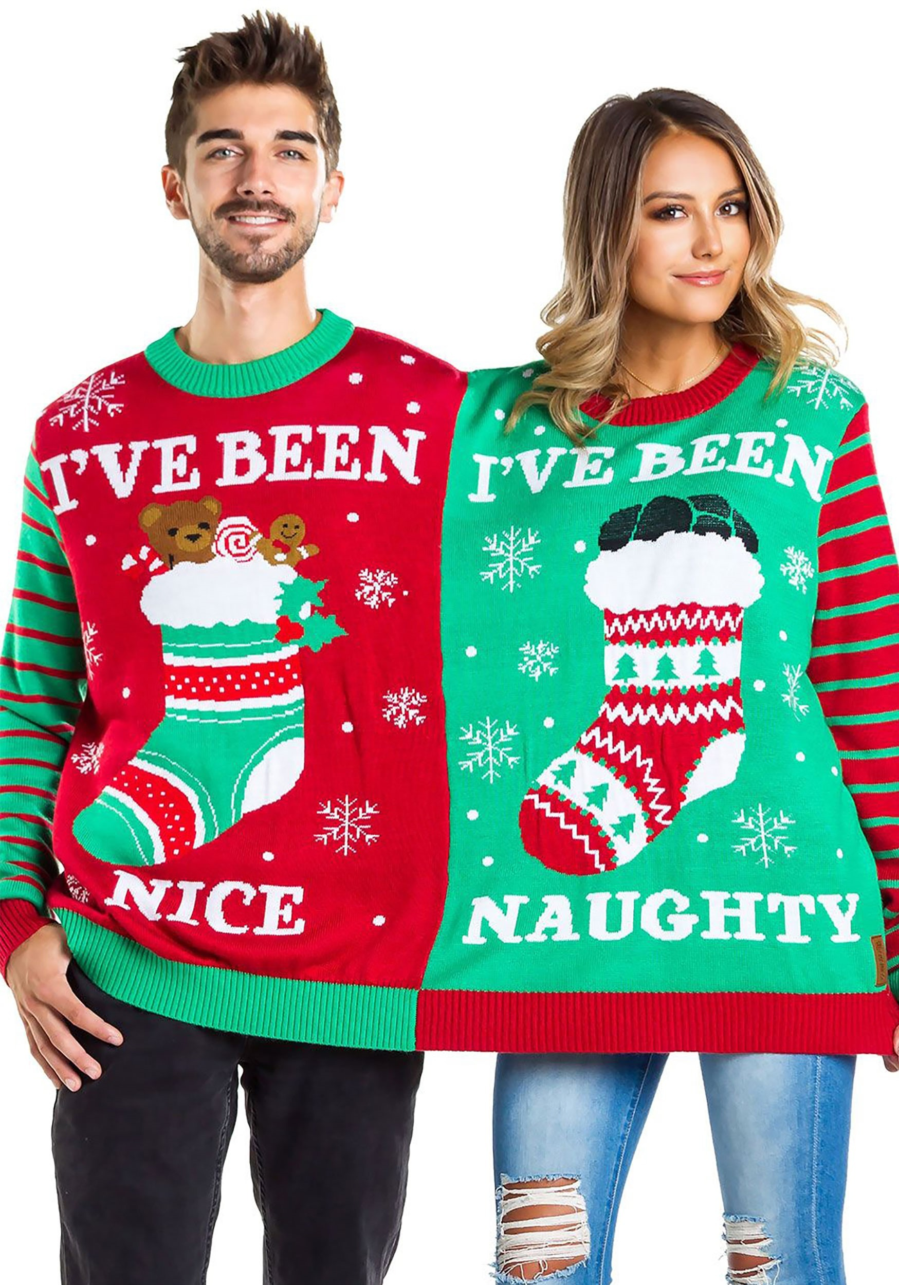 tipsy naughty and nice two person ugly christmas sweater - Ugly Christmas Sweater Elf