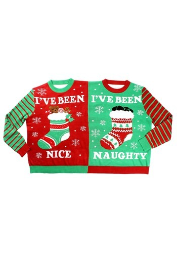 Tipsy Naughty And Nice Two Person Ugly Christmas Sweater