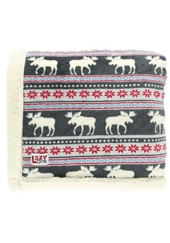 Moose Fair Isle Sherpa Throw Blanket
