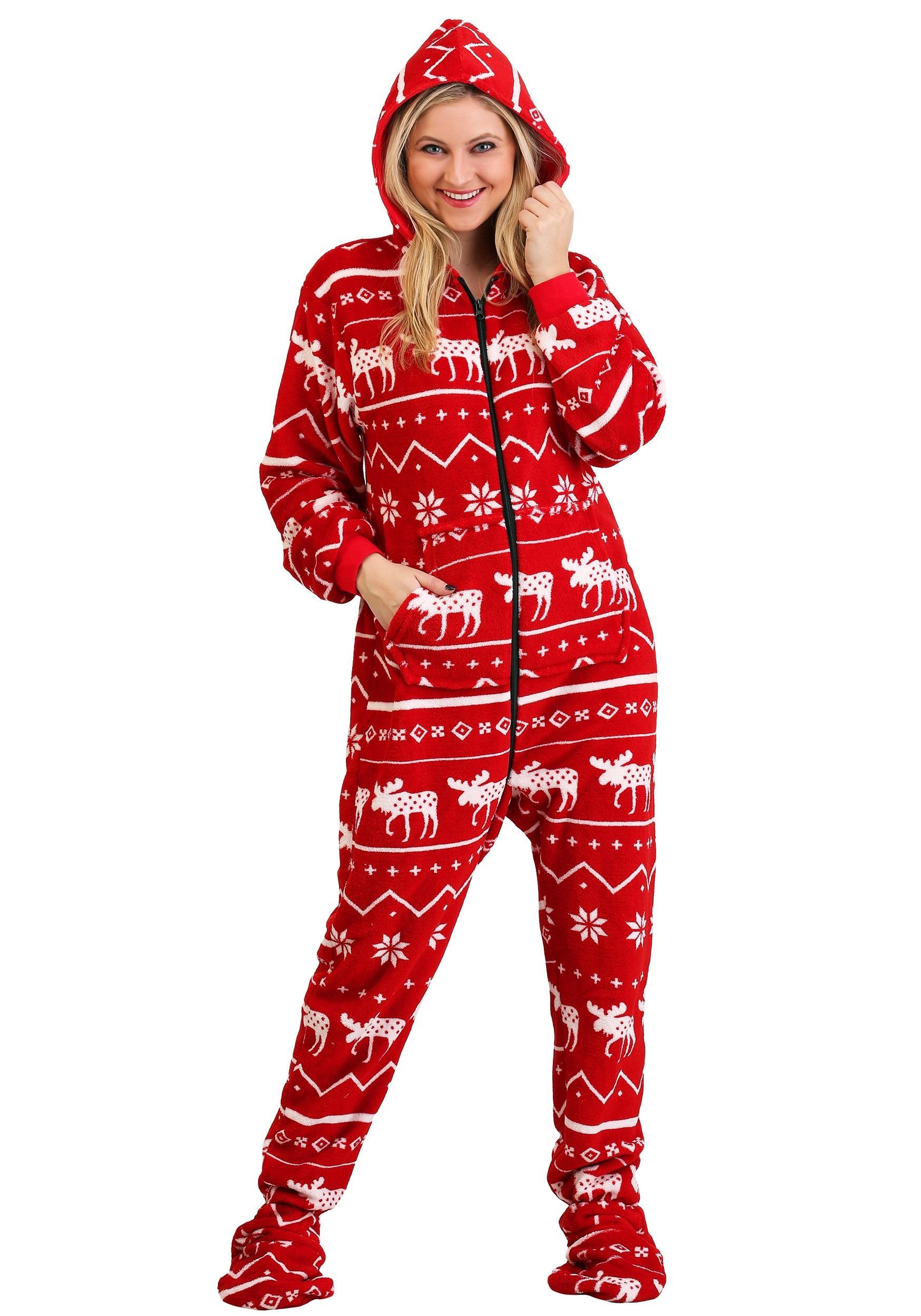 Christmas Onesie.Adult S Ugly Christmas Nordic Moose Hooded Onesie