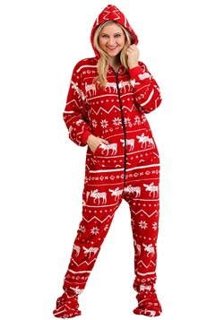 Adult's Ugly Christmas Nordic Moose Hooded Onesie Update Mai