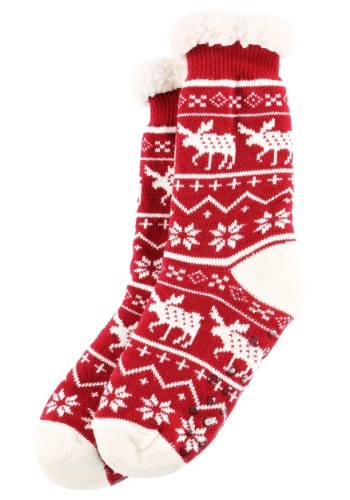 Ugly Christmas Nordic Moose Adult Plush Socks