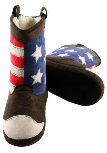 America Cowboy Boot Adult Slippers