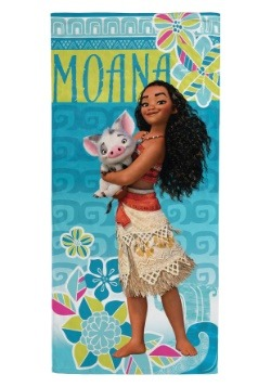 Disney Moana Teal Floral Beach Towel