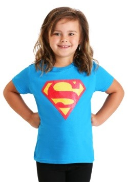 Girl's Glitter Superman Logo T-Shirt