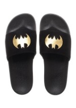 Batman Adult Gold Foil Logo Suede Slide Sandals3