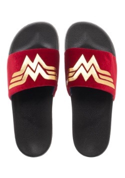 Wonder Woman Adult Gold Foil Logo Suede Slide Sandals
