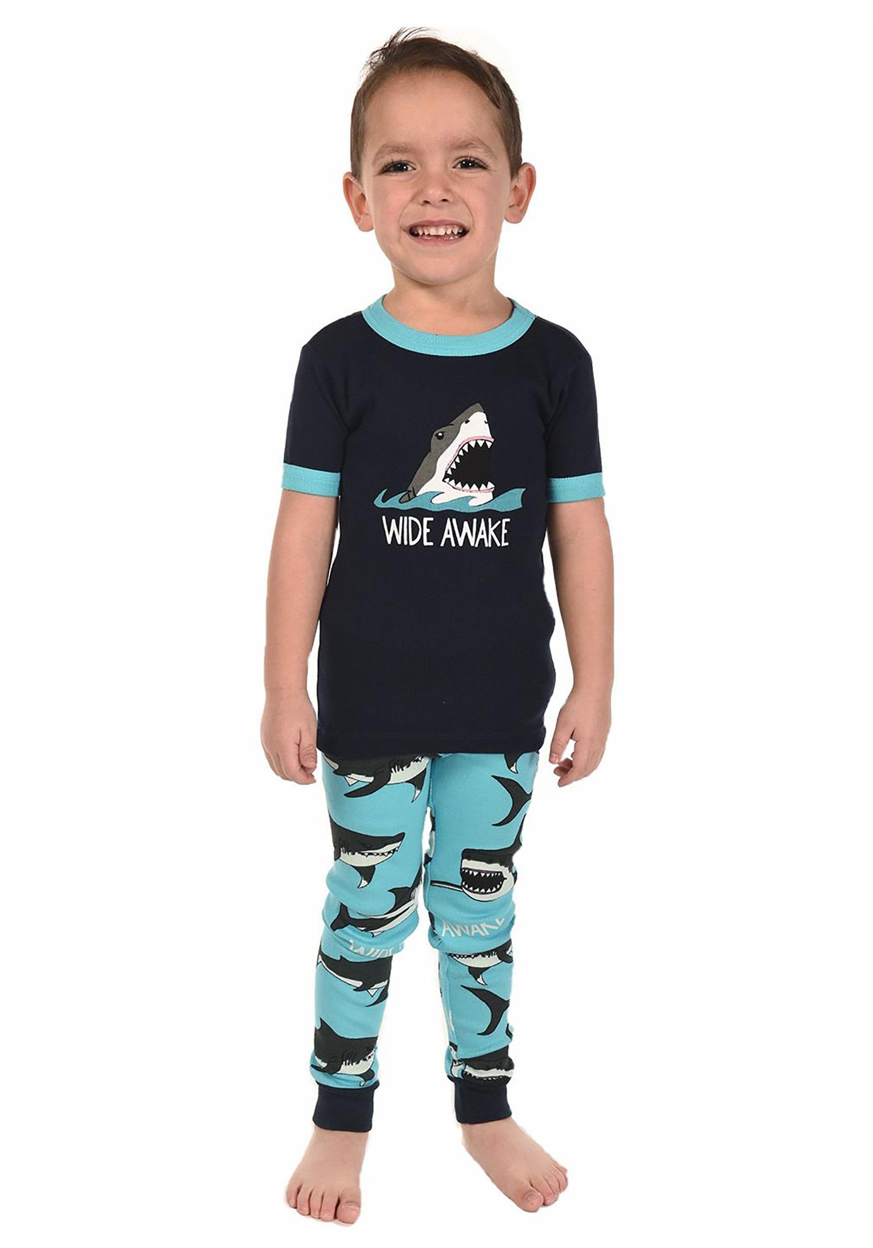 Kid s Wide Awake Shark Short Sleeve Pajama Set 3323c6ade