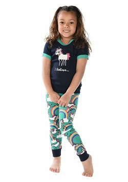 Kids I Believe Unicorn Short Sleeve Pajama Set New
