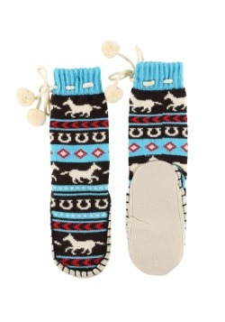 Kids Horse Fair Isle Mukluk Slipper