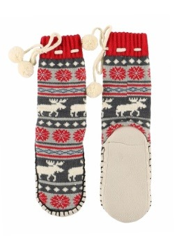 Kids Moose Fair Isle Mukluk Slippers