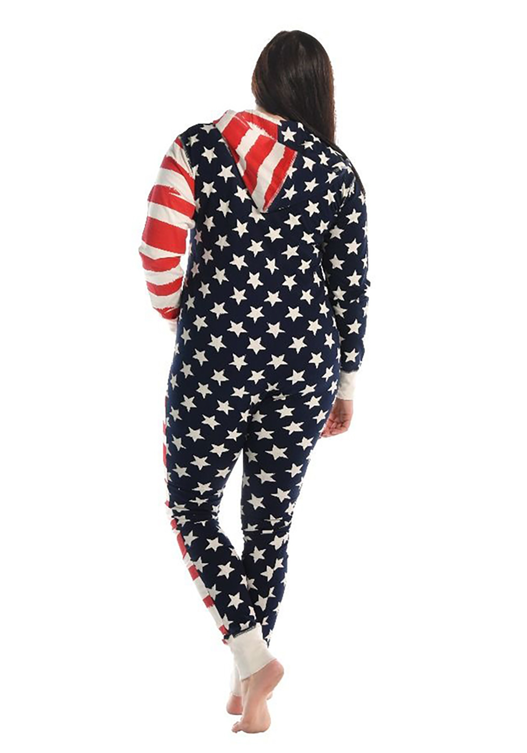 Ladies Hooded American Stars /& Stripes Leopard Print Women/'s Jumpsuit All In One
