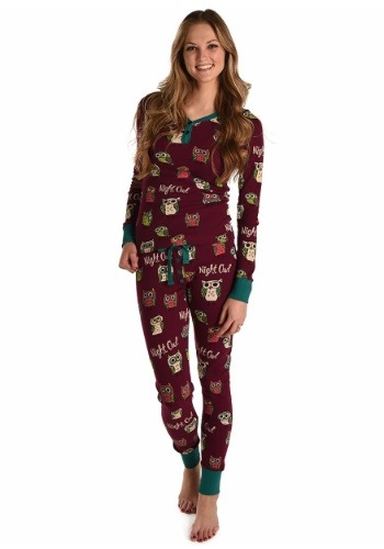 Womens Night Owl Thermeez Purple Pajama Set