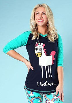 Women's I Believe Unicorn Tall Pajama Tee new 1