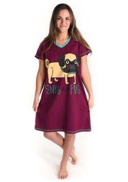Womens Snug as a Pug Fitted Night Shirt