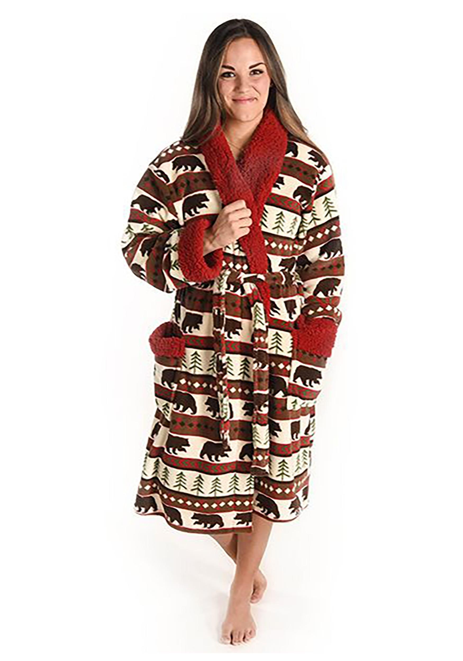 Adult bear fair isle bathrobe