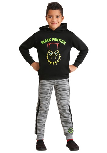Boys Marvel Black Panther Poly Fleece Hoodie and Pants Set