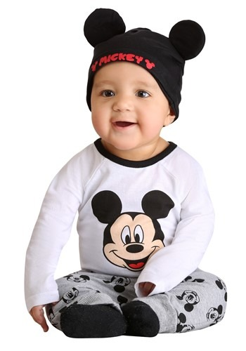 Mickey Mouse Set- Onesie, Pants, and Beanie For Infants