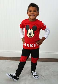 Toddler Boys 2 Pc Mickey Mouse Long Sleeve Shirt Pant Set Up