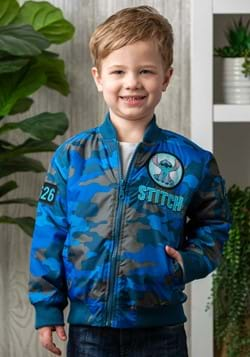 Toddler Boys Disney Stitch Blue Camo Print Nylon Jacket