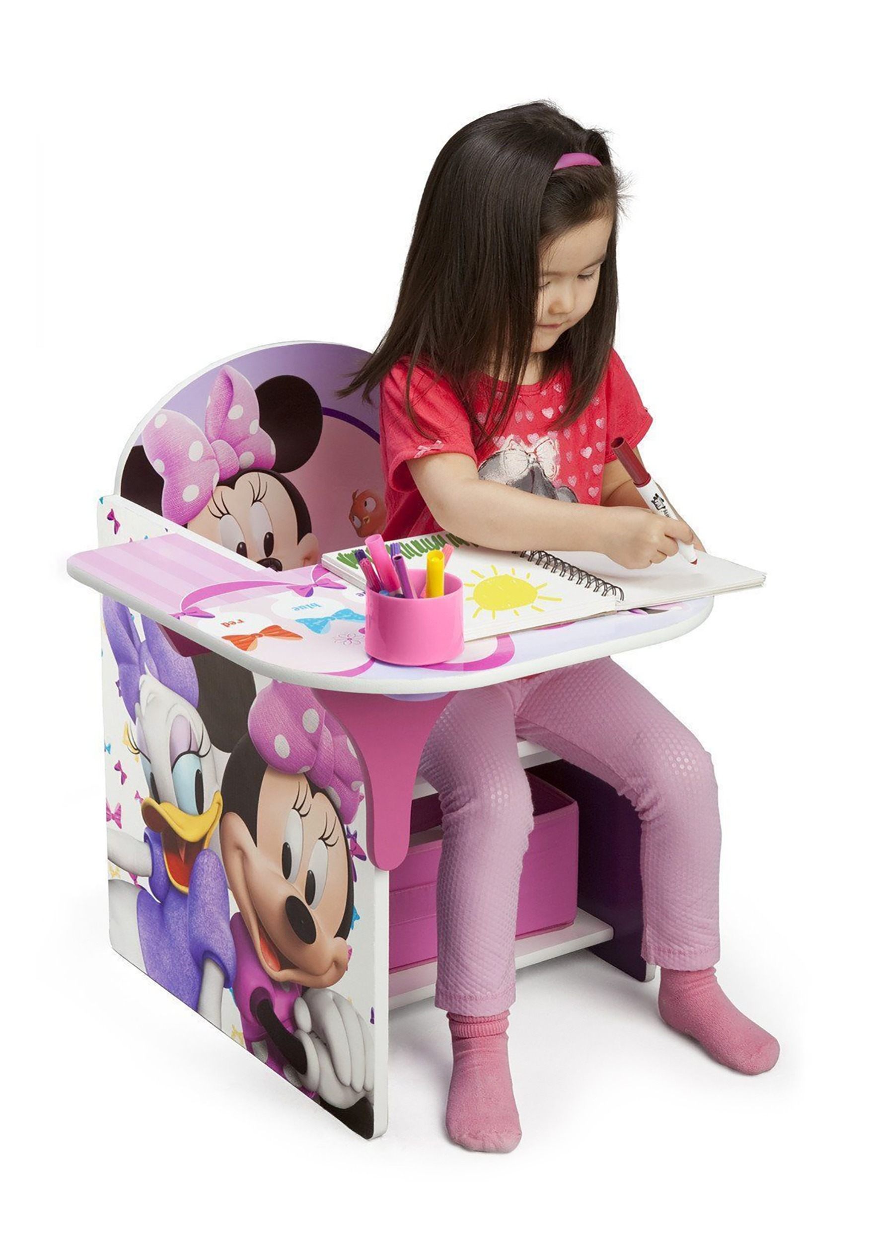Minnie Mouse Chair Desk With Storage Bin3