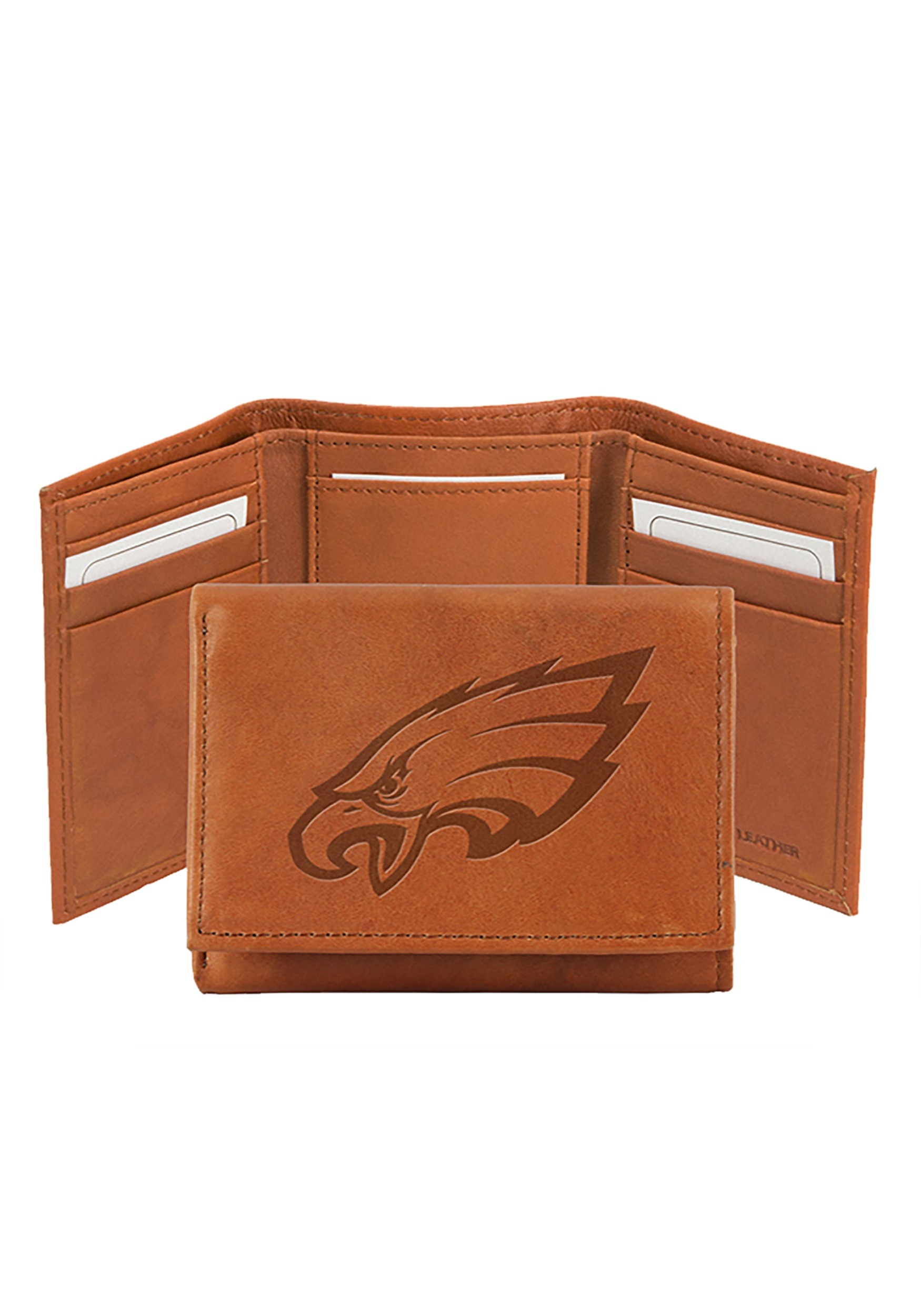 Tan NFL Philadelphia Eagles Embossed Leather Trifold Wallet