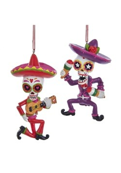 "4"" Day of the Dead Mariachi 2 Piece Ornament Set"