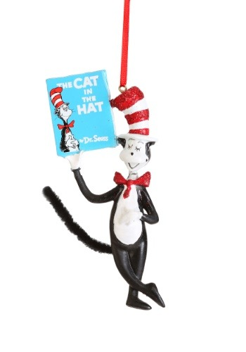 Cat Holding Book Ornament