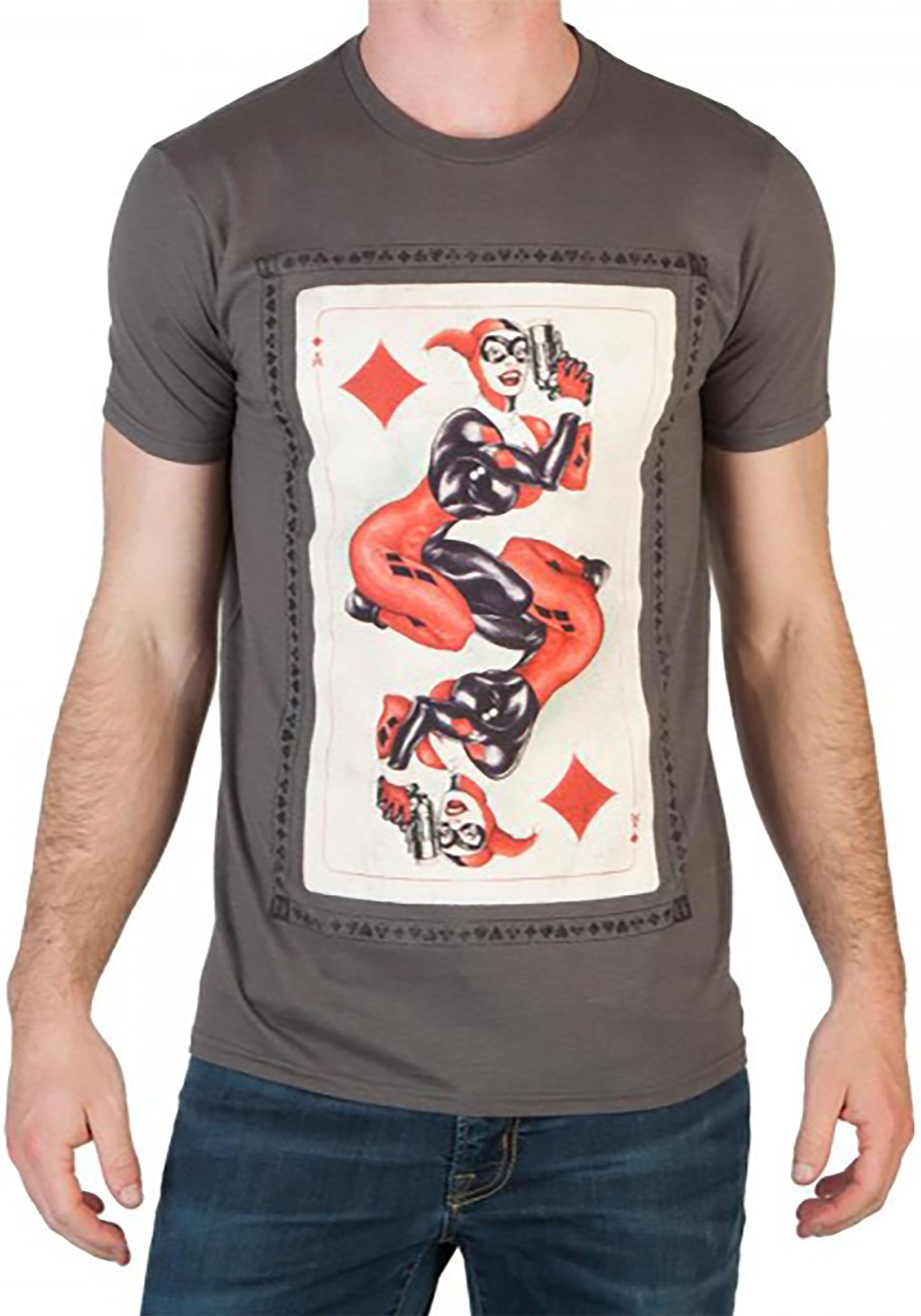 DC Comics Men's Heroes and Villains Harley Quinn Card T-Shirt