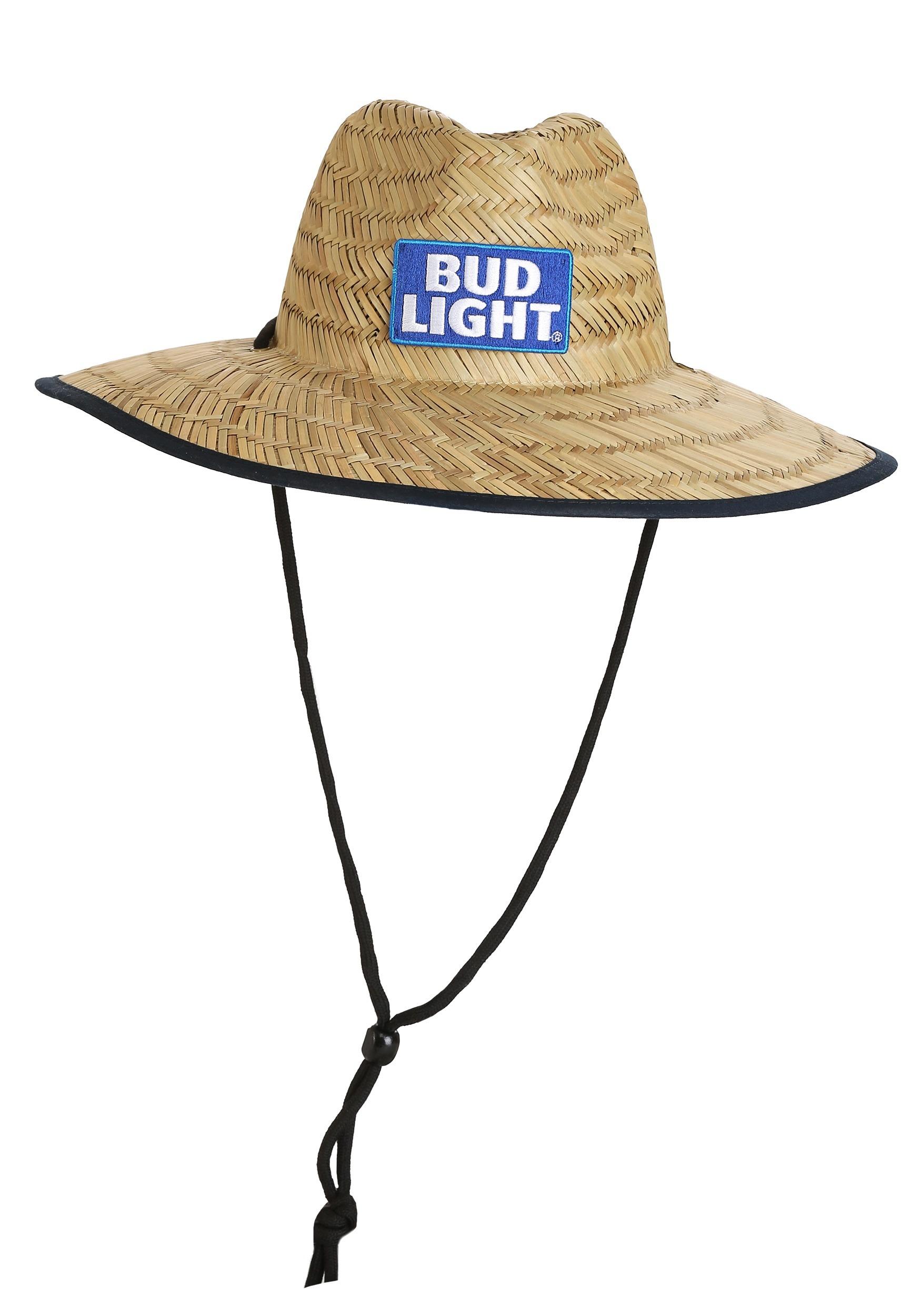 fb35f0ddc020d Bud Light Lifeguard Woven Straw Drawstring Hat