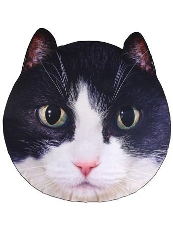 "Photo Realistic Black/White Cat Face Blanket 60"" Diameter"