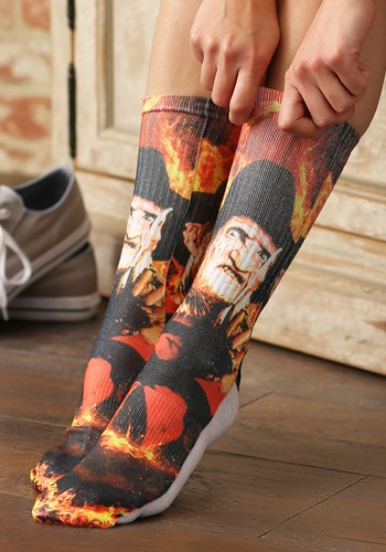 Men's Nightmare on Elm Street Freddy Krueger Crew Socks Upda