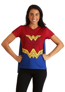 Womens Wonder Woman Cape Costume T-Shirt