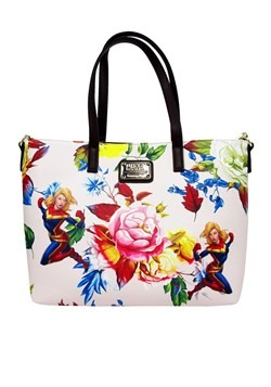 Captain Marvel Floral Print Faux Leather Loungefly Tote