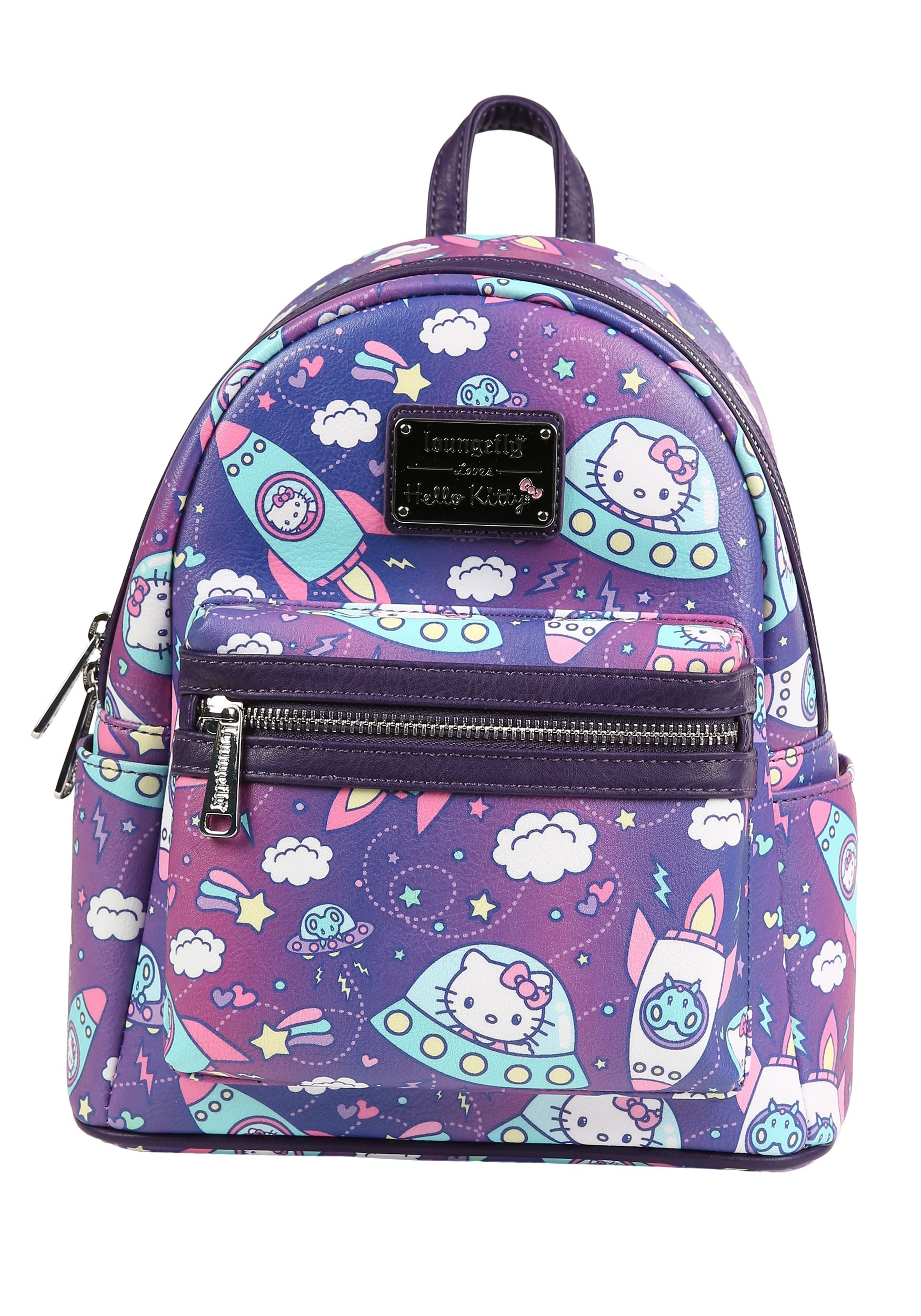 40b42a692 Loungefly Faux Leather Hello Kitty Spaceships Print Mini Backpack