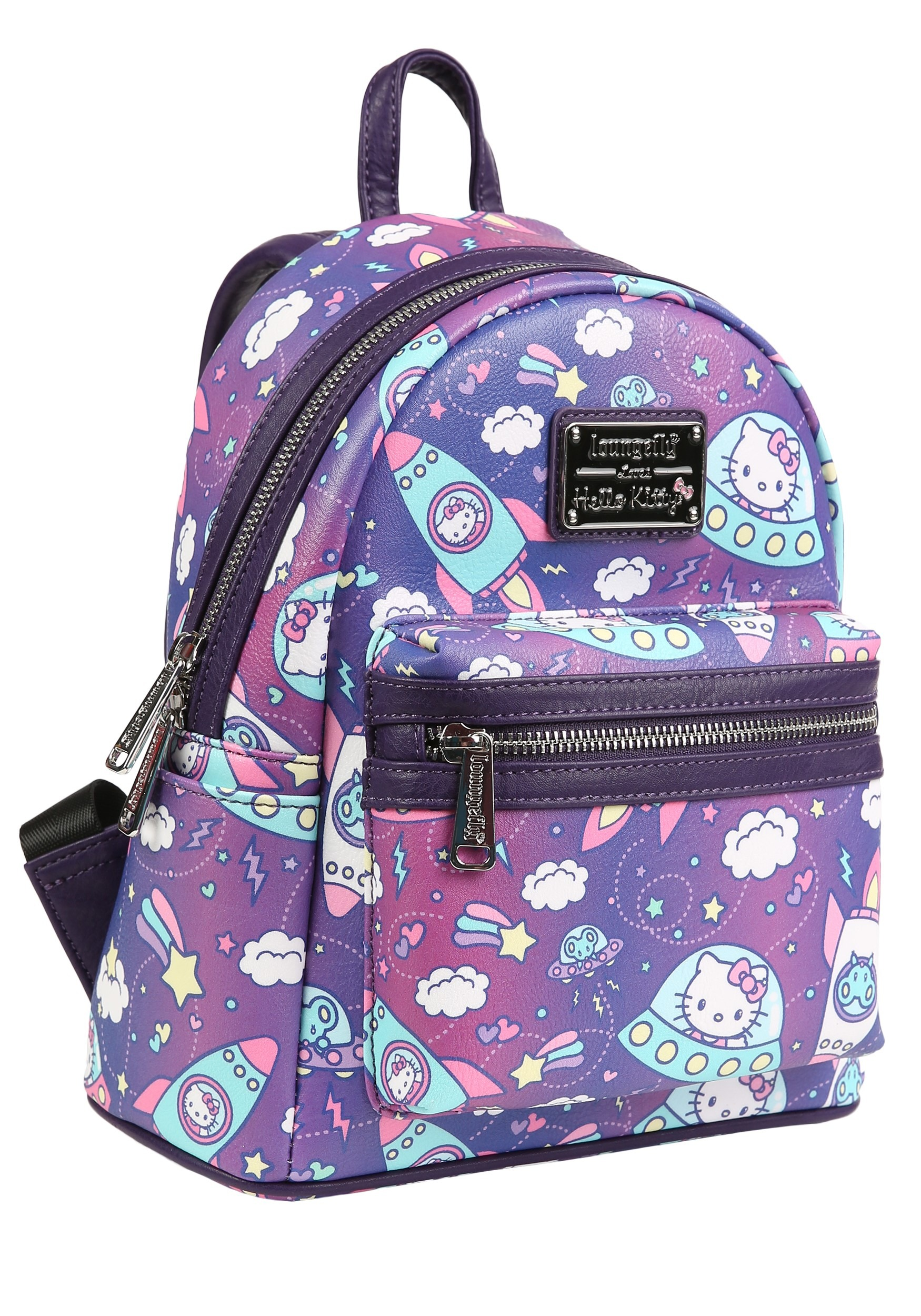 4ddab0c4d2df Loungefly Faux Leather Hello Kitty Spaceships Print Mini Backpack