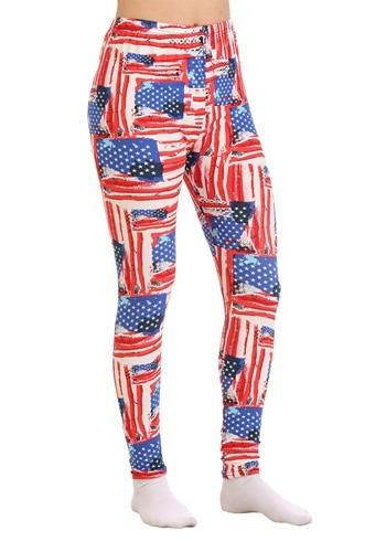Two Left Feet Women's All-American Flag Print Leggings updat
