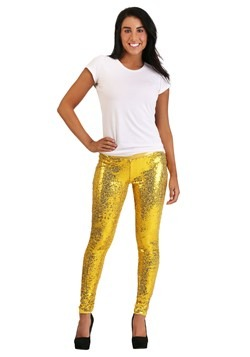 Tipsy Elves Women's Gold Sequin Leggings New 1