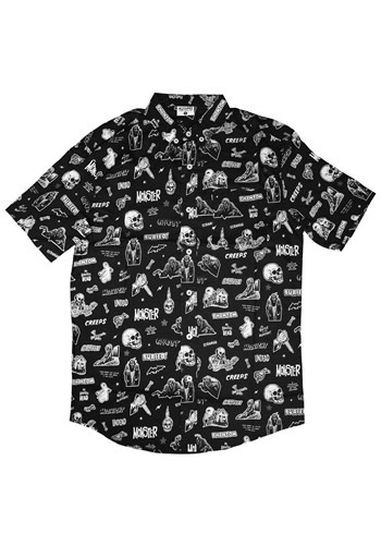 Mens Vintage Horror Comix Button-Up Shirt