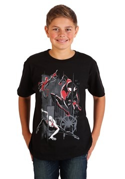 Boys' Spiderverse Trio Group Shot Black T-Shirt