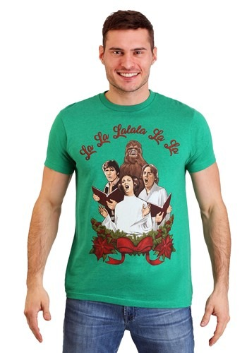 Mens Star Wars Rebel Carolers Green Heather T Shirt